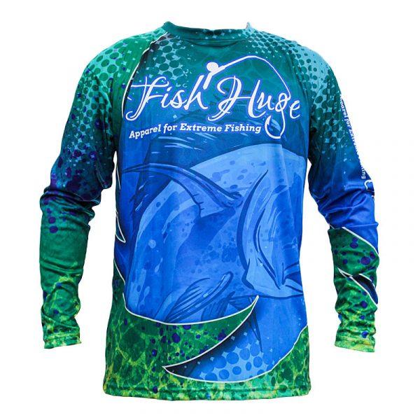 Front, FishHuge Bull Dolphin, Performance Sun Shirt, Long Sleeve