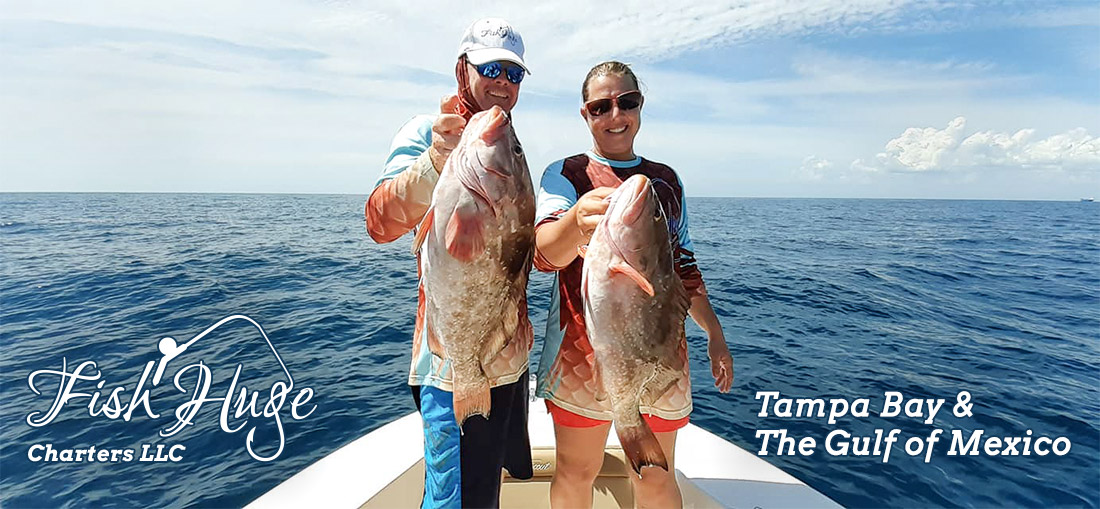 Couple Fishing on Boat, Fish Huge Charters LLC,, Tampa Bay, The Gulf of Mexico